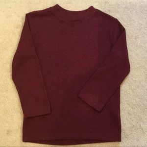 F21 burgundy, crew neck sweater. Size Sm